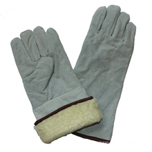 Cow Split Leather Winter Warm Boa Full Lining Welding Gloves